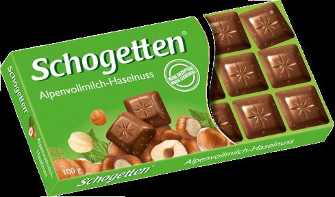 Шоколад Schogetten 100 гр. молочный с лесным орехом