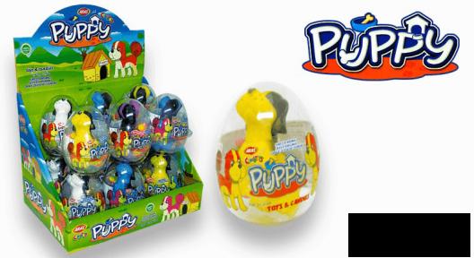 Пластиковое яйцо PUPPY игрушка с сахарным драже 10 гр.