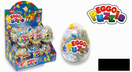 Пластиковое яйцо EGGO PUZLE игрушка с сахарным драже 10 гр.