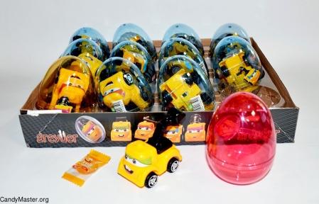 Дорожный грейдер игрушка с драже, 6 гр., 12 шт.