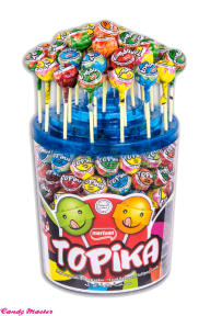 Фруктовый леденец на палочке TOPIKA 6 вкусов в банке